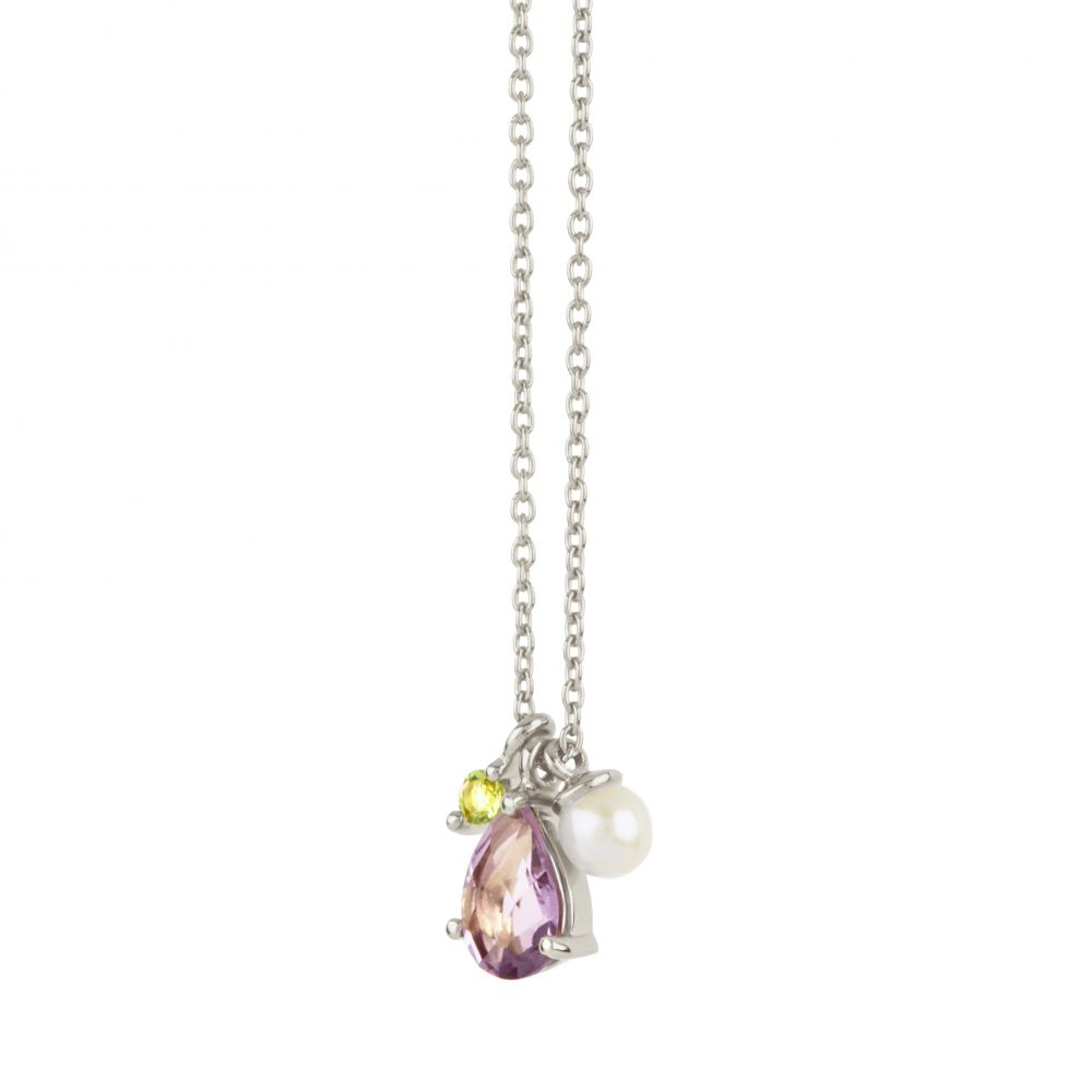 Dinny Hall Gem Drop Cluster Pendant With Amethyst, Peridot and Fresh Water Pearl