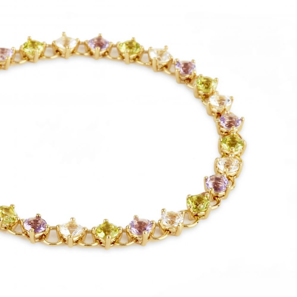 Dinny Hall Gem Drop Line Bracelet, With Peridot, Amethyst and White Topaz