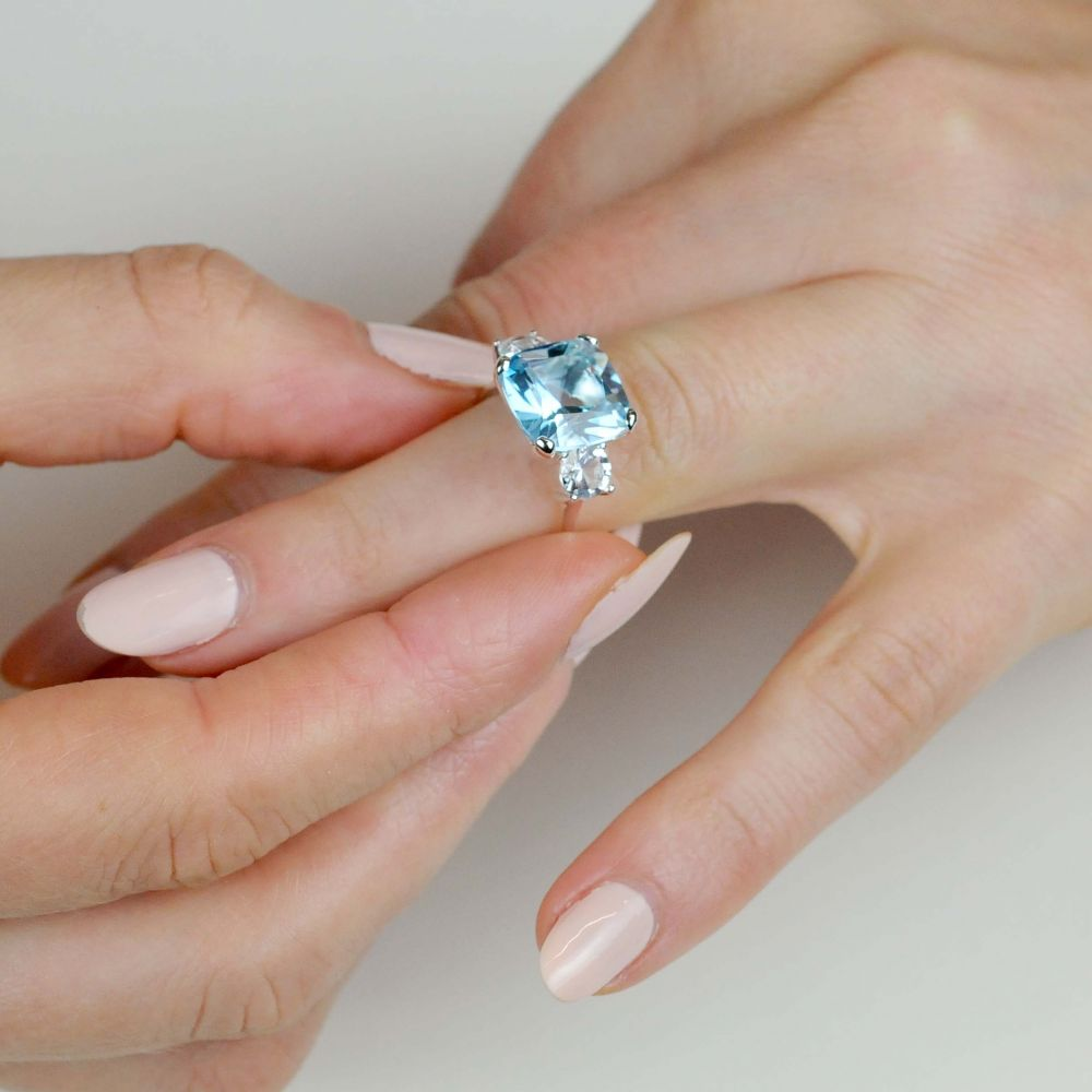 Dinny Hall Teresa Sterling Silver Blue Topaz and White Topaz Ring
