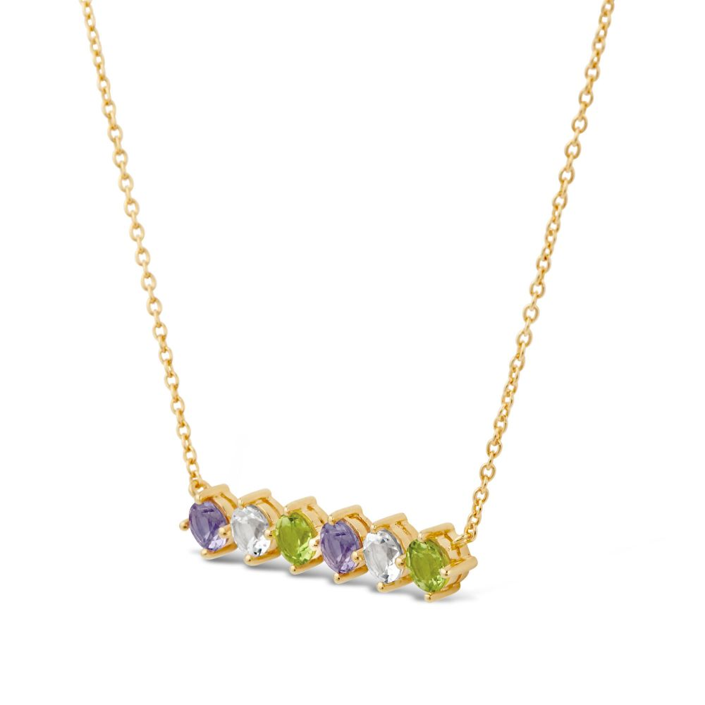 Dinny Hall Bar Necklace, Set With Gemstones in Suffragette Colours