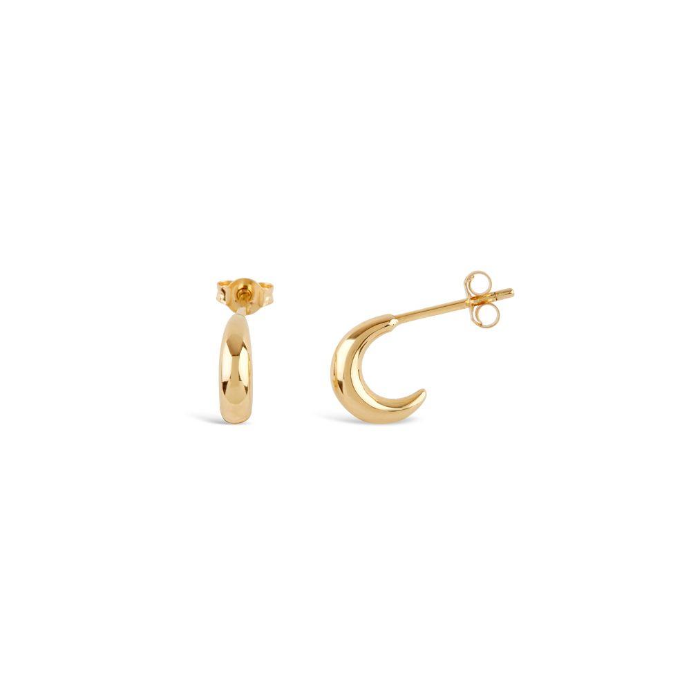 Dinny Hall Bijou Yellow Gold Vermeil Crescent Mini Hoop Earrings Side View
