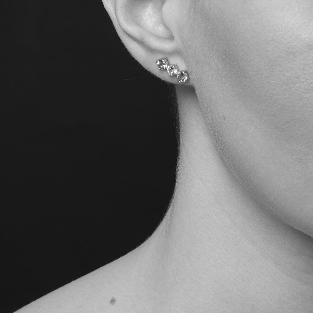 Model Wearing Gem Drop Trilogy Bar Studs