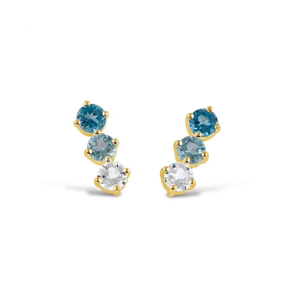 Bar Earrings gold with Blue Topaz, and White Topaz