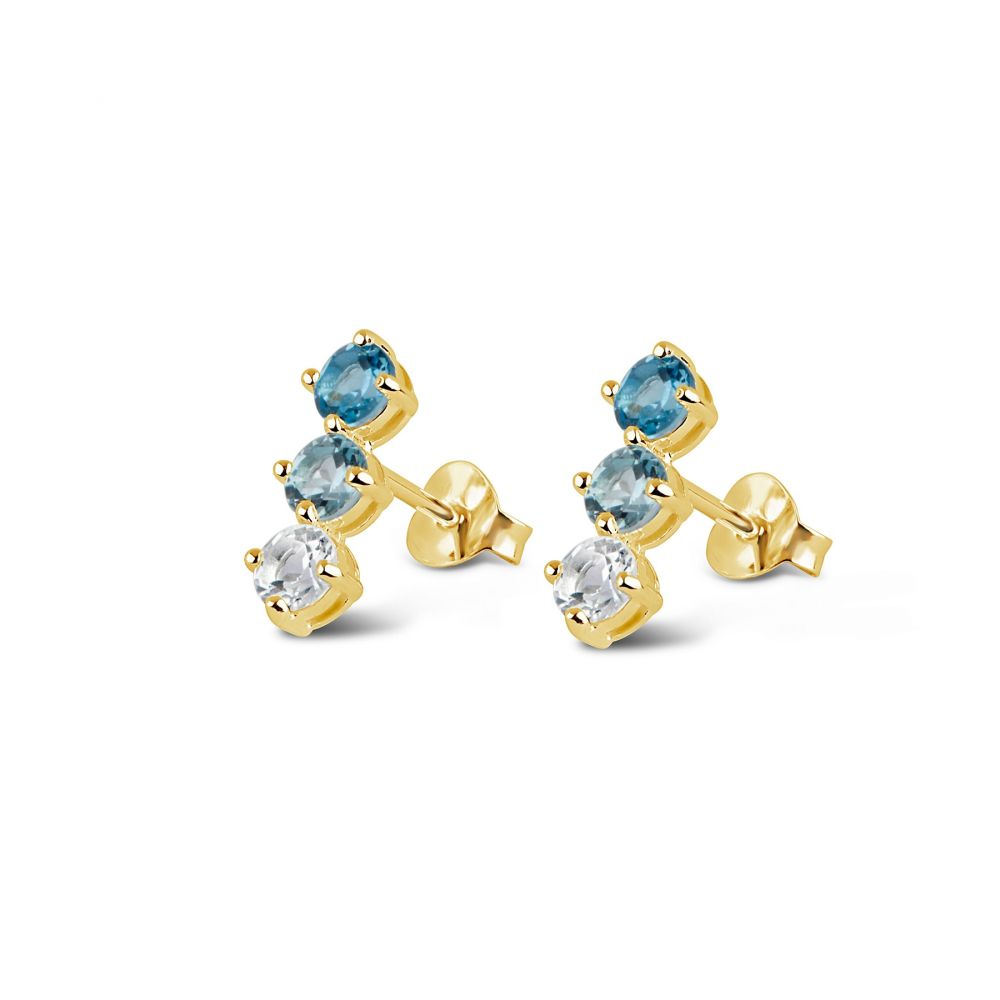 Trilogy Bar Studs in 22k yellow gold vermeil with Blue Topaz