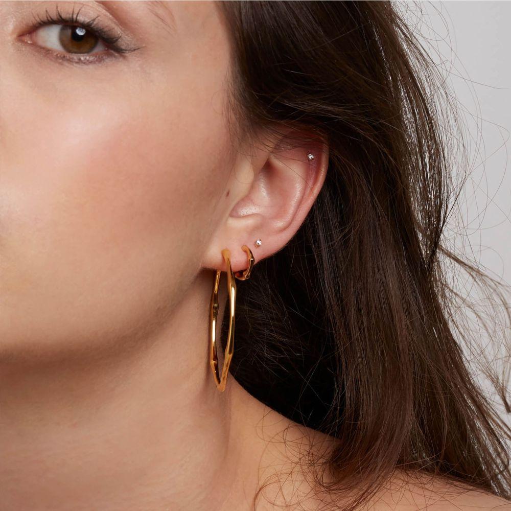 Gold Plate Large Hoop Earrings