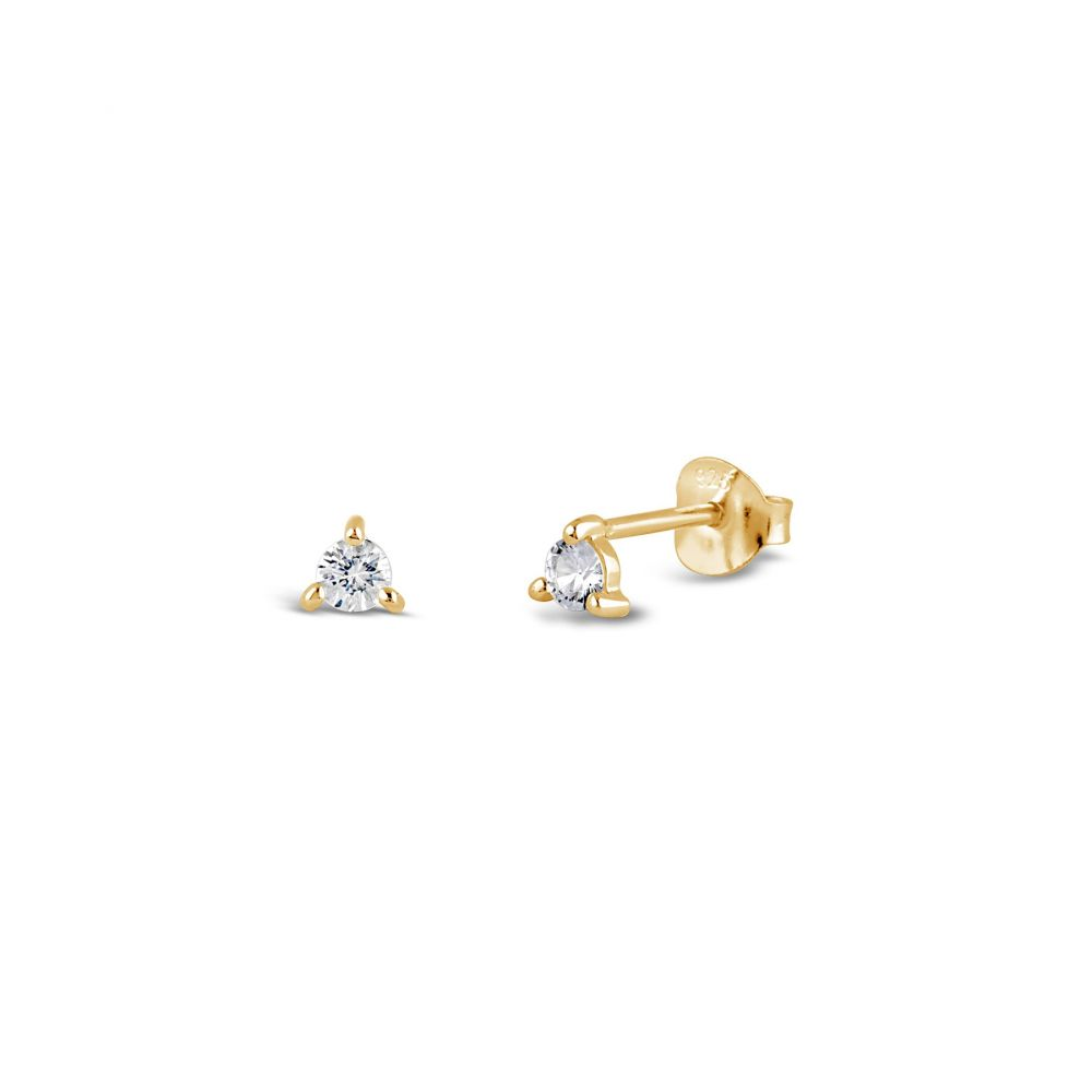 Small Gold Studs set with White Sapphire