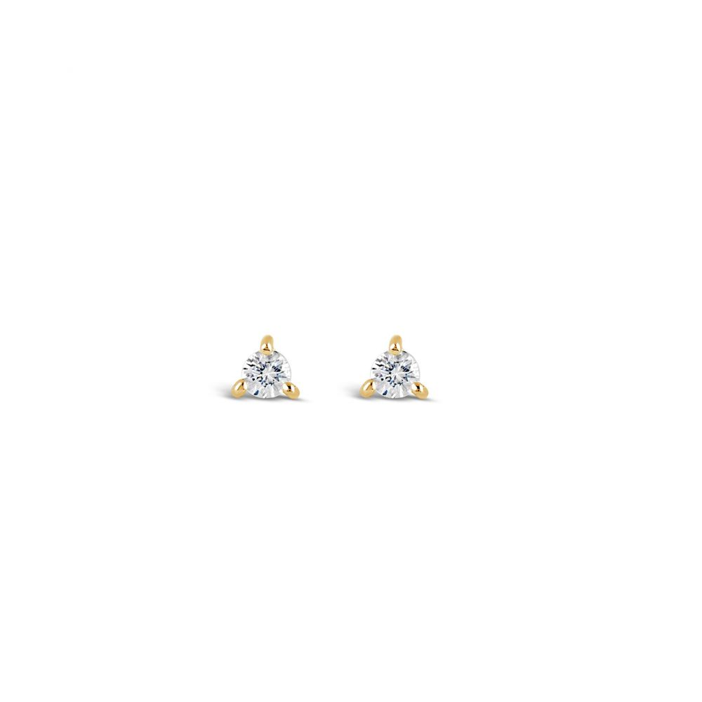 Gold Plated Small White Sapphire Earrings
