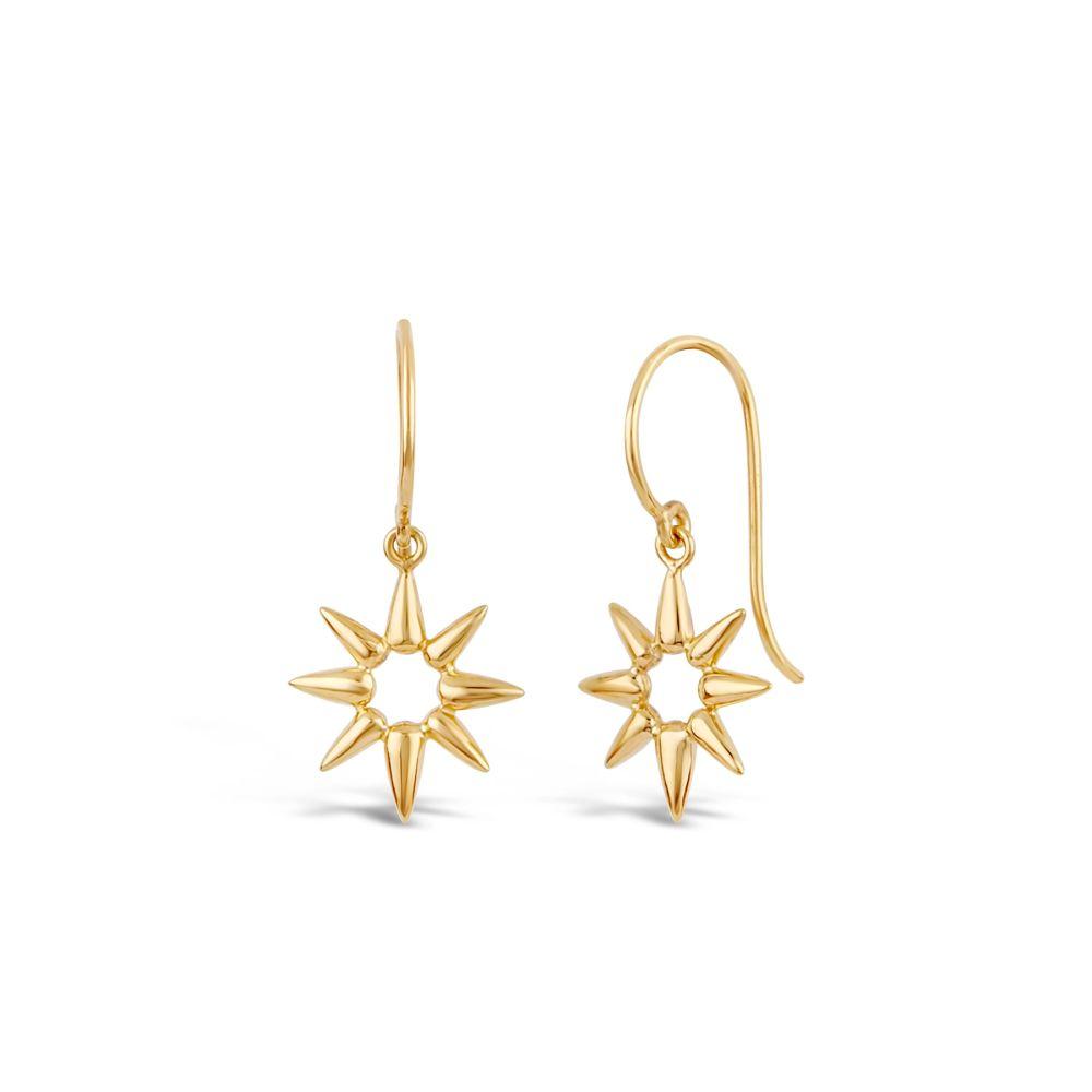 Gold Earring in shape of sun beam