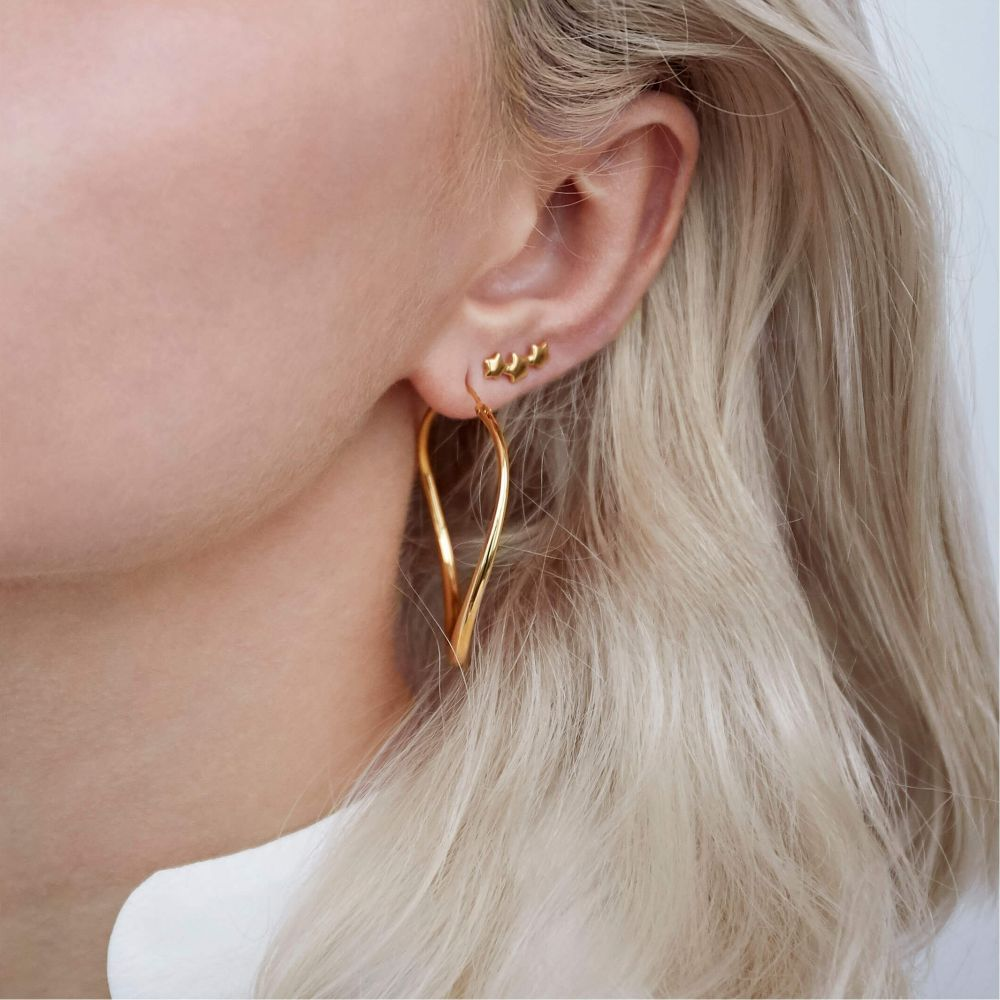 Large Gold Stacking Earring Hoops