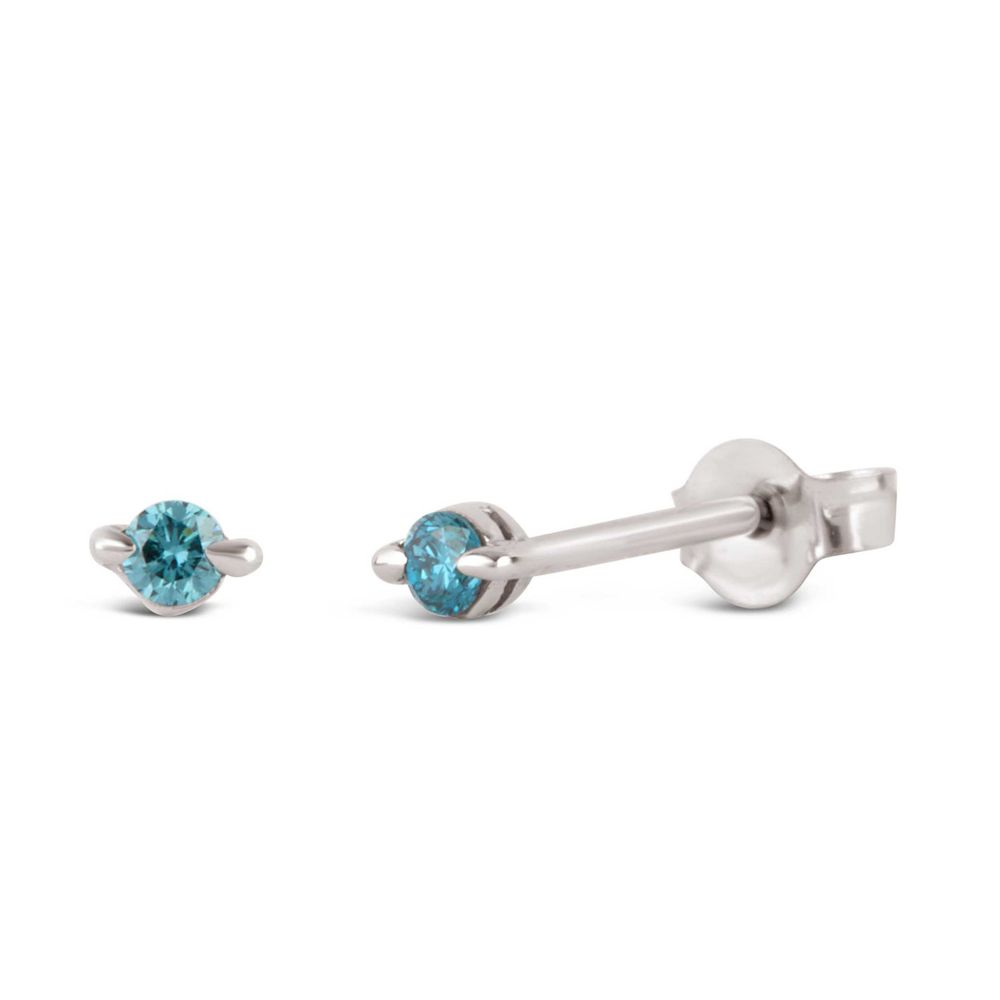 Small Blue Diamond Stud Earrings