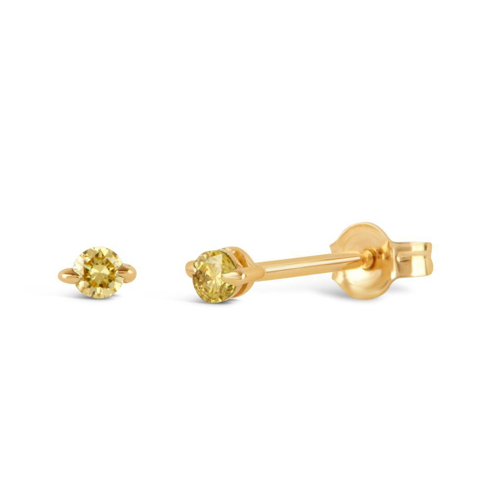 Solid Gold Yellow Diamond Studs