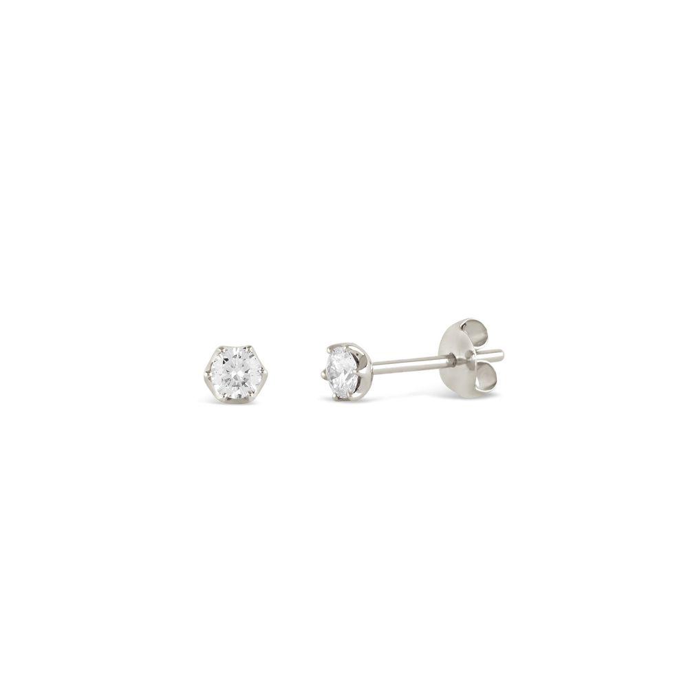 Elyhara 18k White Gold Diamond Studs