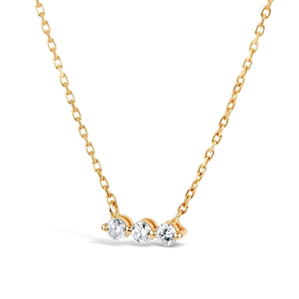 Dinny Hall Shuga 14k three stone Diamond Bar Necklace With Adjustable Chain
