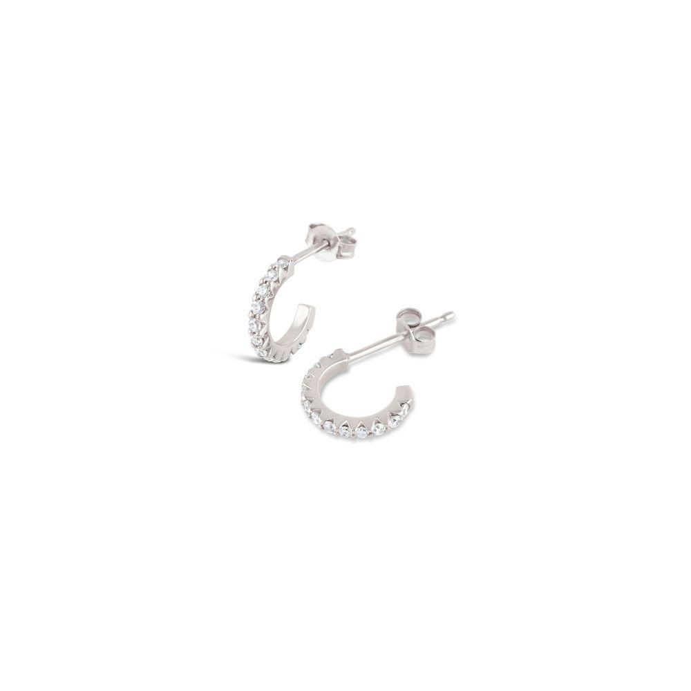 Dinny Hall Bijou Solid 14K Mini Micro Set Diamond Hoop Earrings