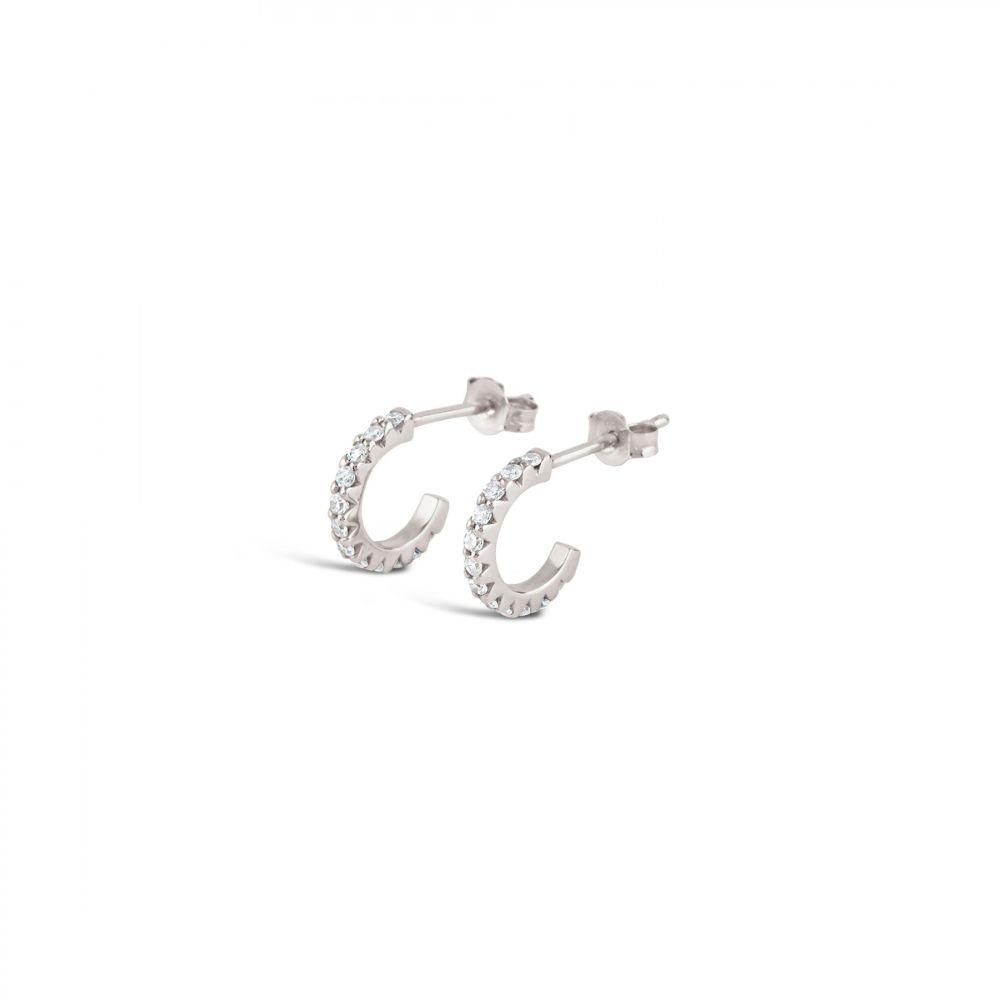 Bijou Solid 14K Mini Micro Set Diamond Hoop Earrings
