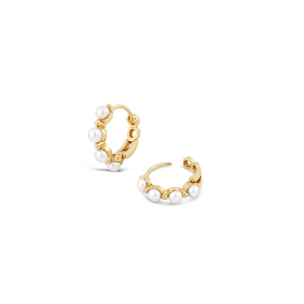 Shuga 14k Gold Pearl Huggie Hoops