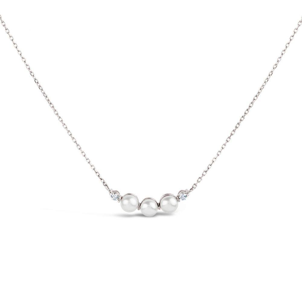 Peal and Diamond Bar Necklace