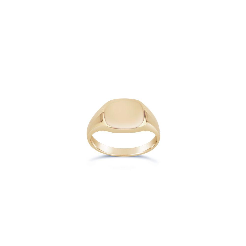 Cushion 10 Karat Gold Pinky Signet Ring