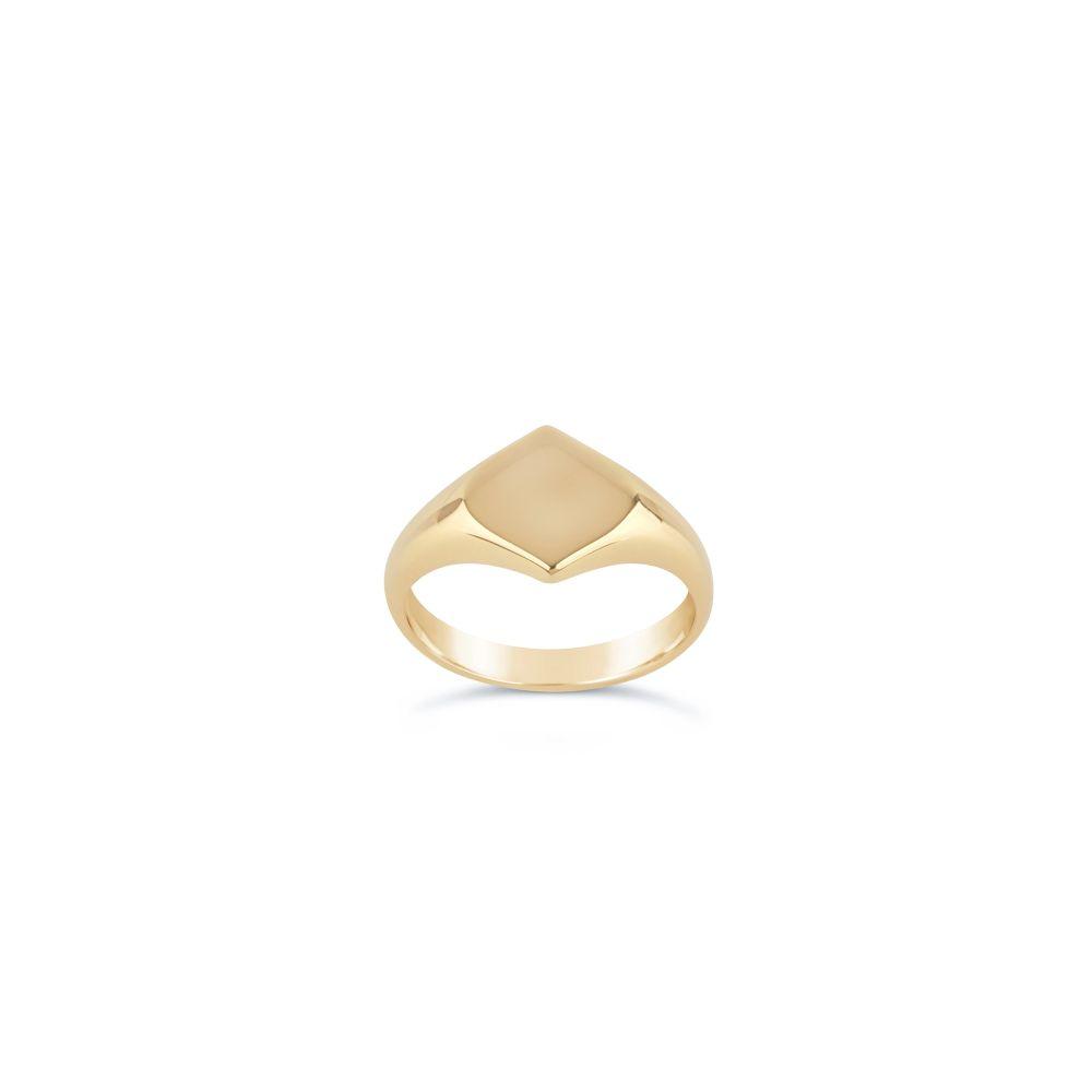 Lotus 10 Karat Gold Signet Pinky Ring