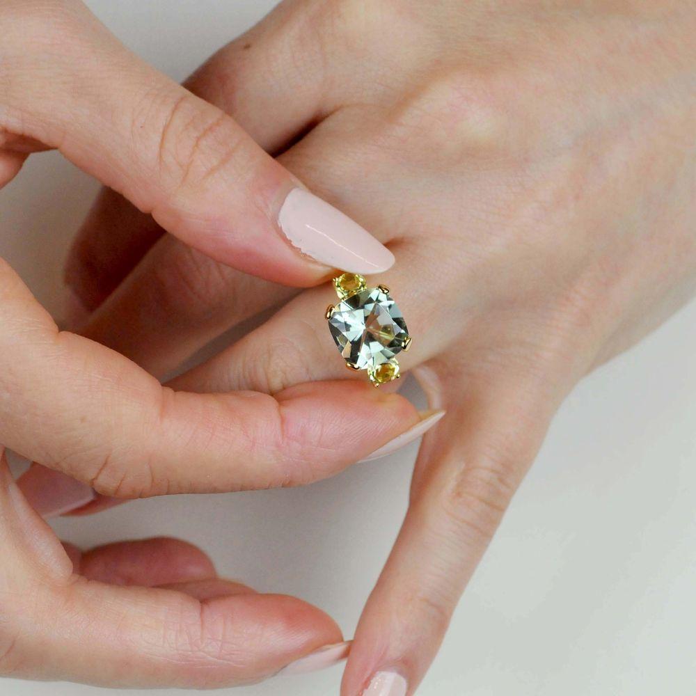 Dinny Hall Teresa 22k Yellow Gold Vermeil Green Amethyst and Oro Verde Ring