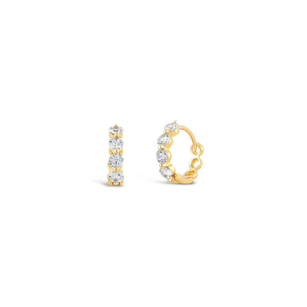 Dinny Hall gold huggies with white sapphire