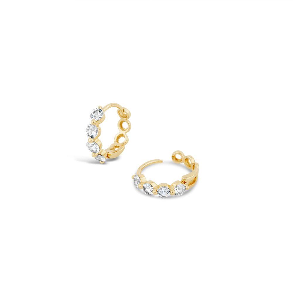 White Sapphire Hoop Earrings