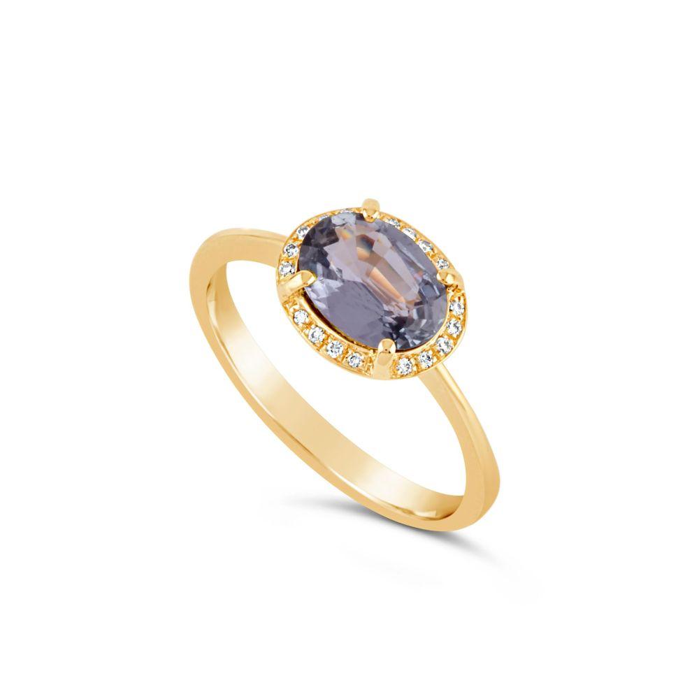 18k Gold Fine Lavender Sapphire and Brilliant Cut Diamond Ring