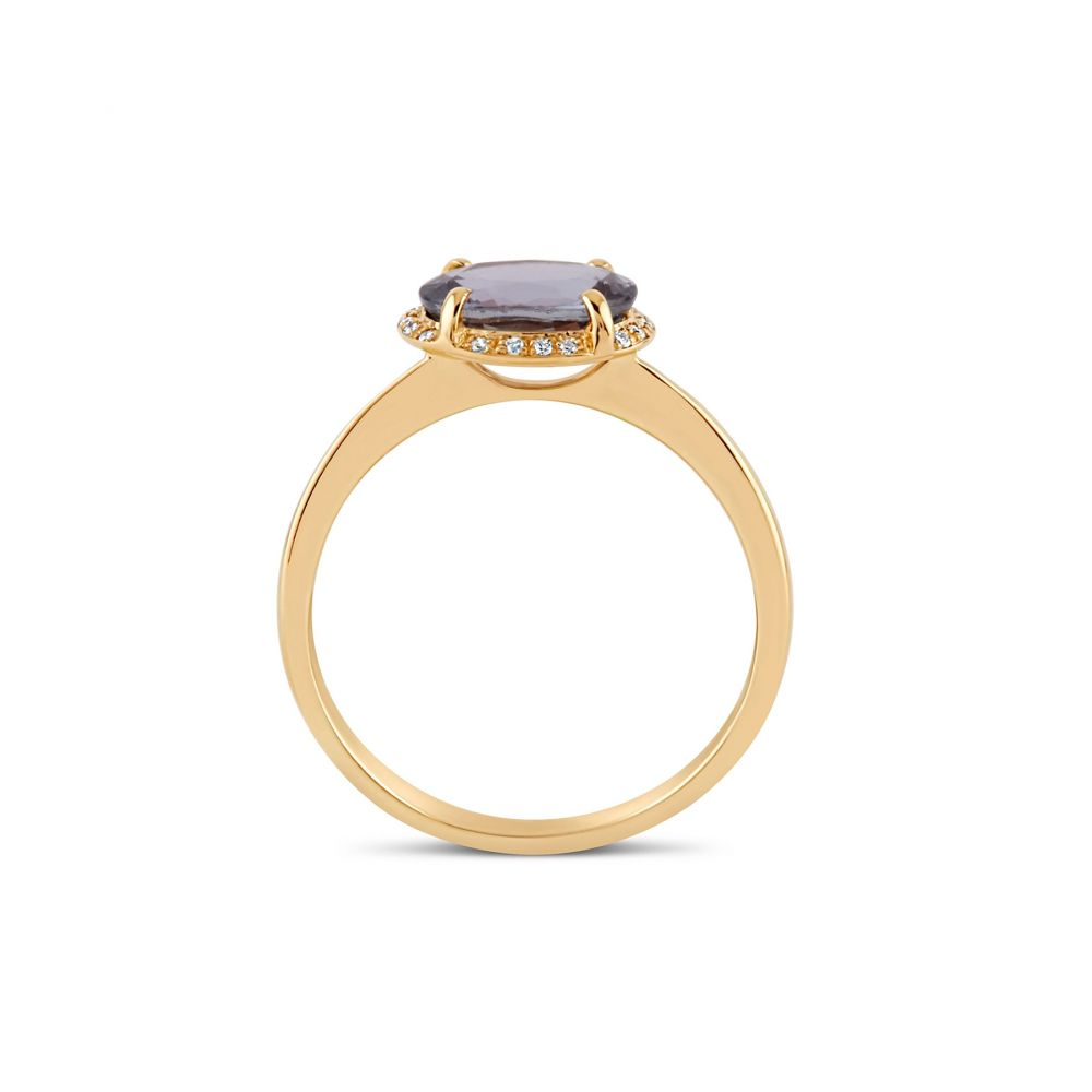 18k Gold Lavender Sapphire and Diamond Ring