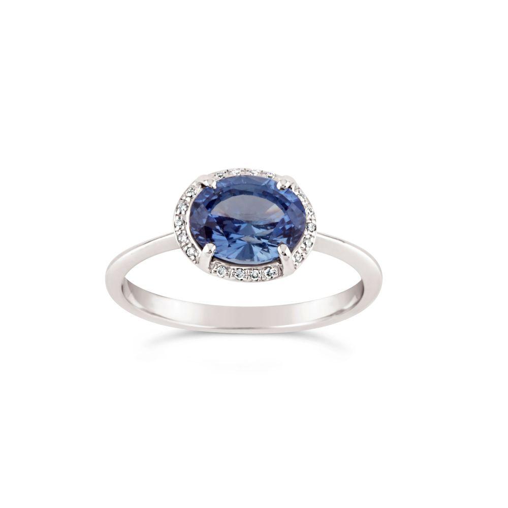 Mia 18k Gold Blue Sapphire and Brilliant Cut Diamond Ring