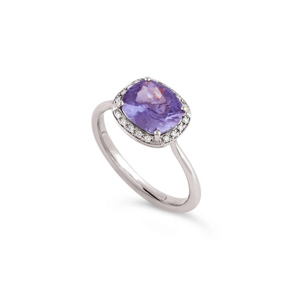 Sheba Cushion 18k Natural Purple Sapphire and Brilliant Cut Diamond Ring