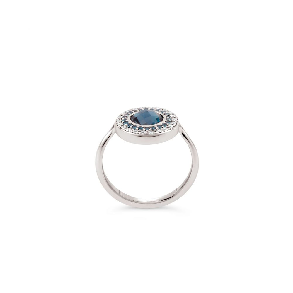 Blue and diamond pinky ring