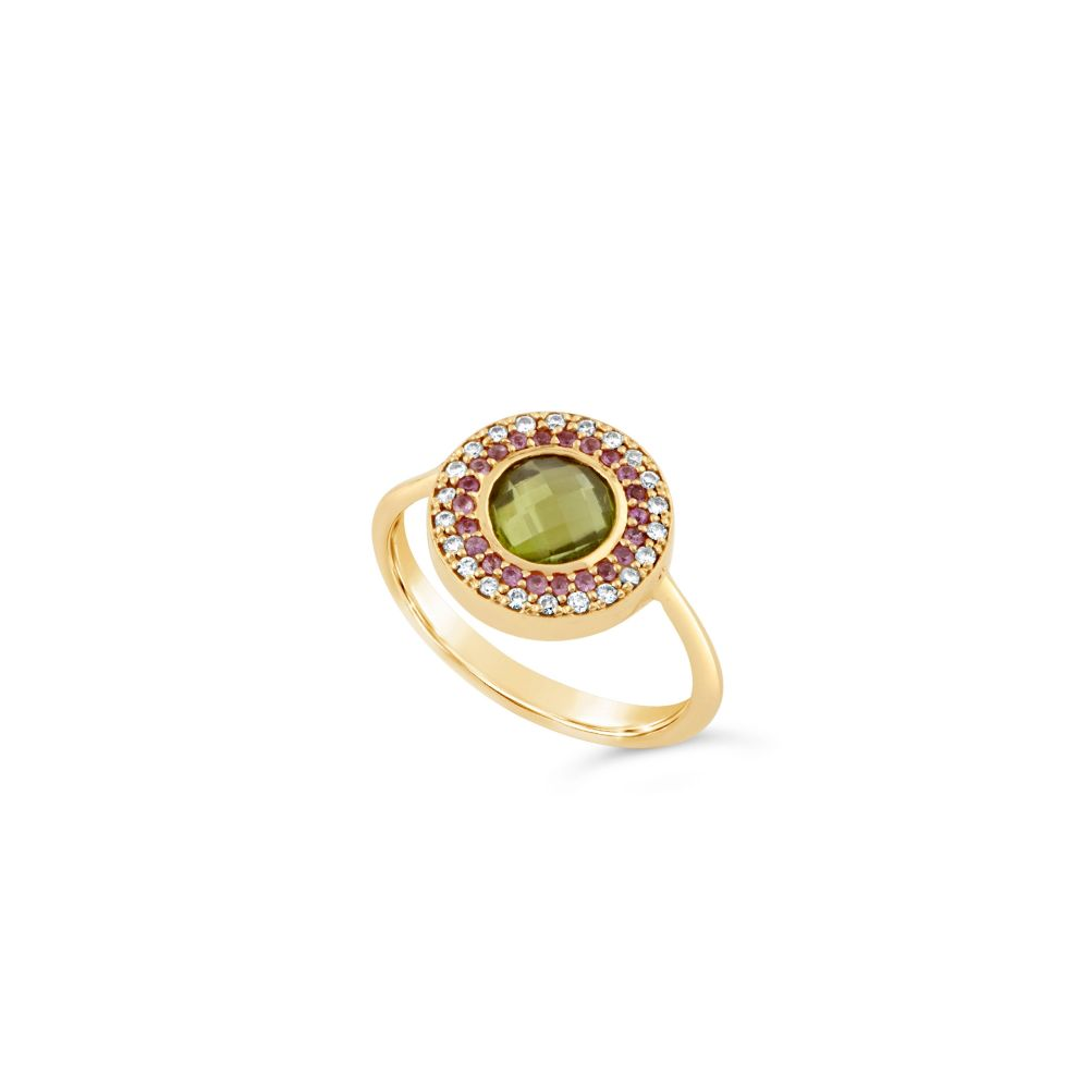 Dinny Hall 14k Gold Double Halo Pinky Ring