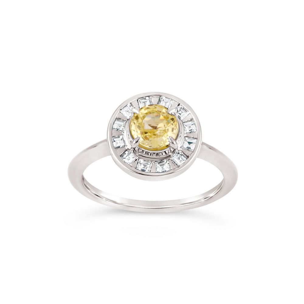 White Gold Ring set with Lemon Sapphire and Diamonds