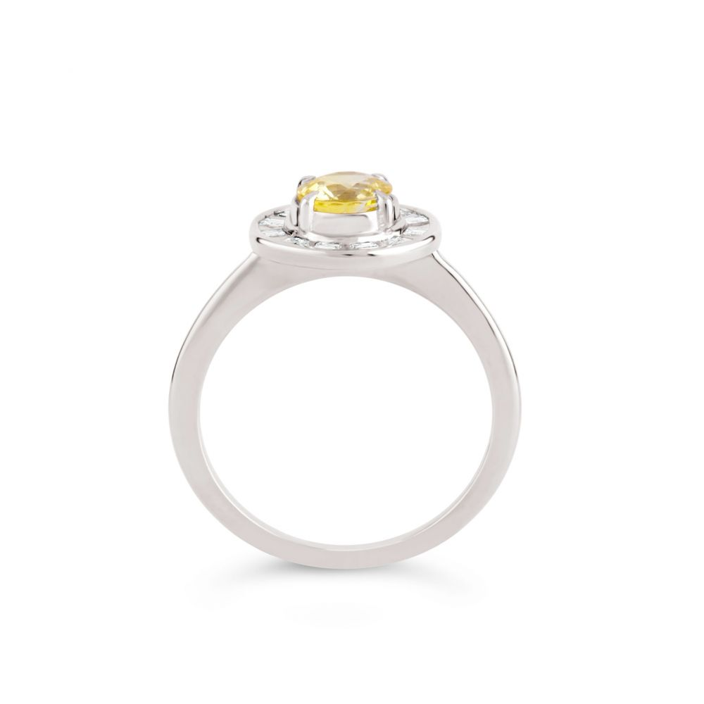 Ava 18k Gold Sapphire and Carre Cut Diamond Ring