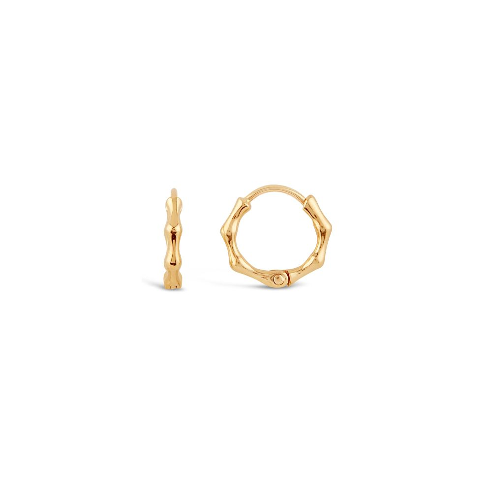 Solid Yellow Gold Click Hoop Earrings