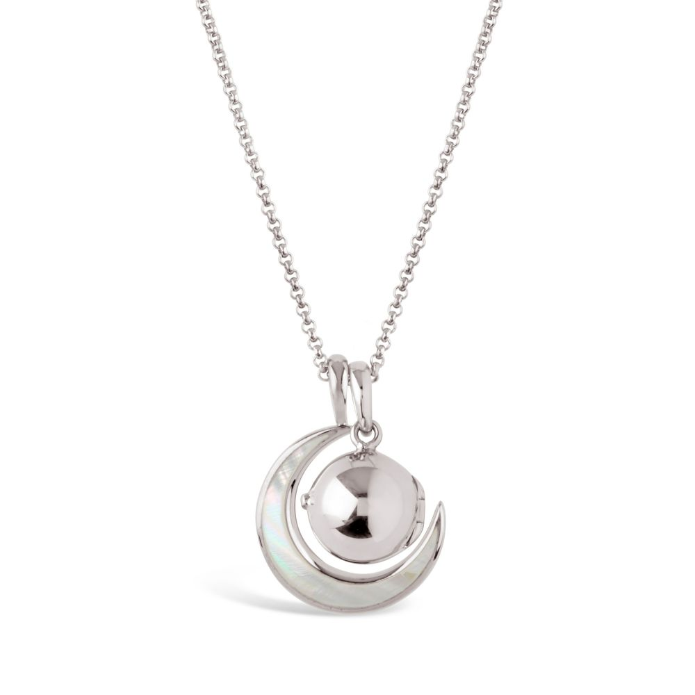 Womens Silver Locket with Mother of Pearl Moon Charm