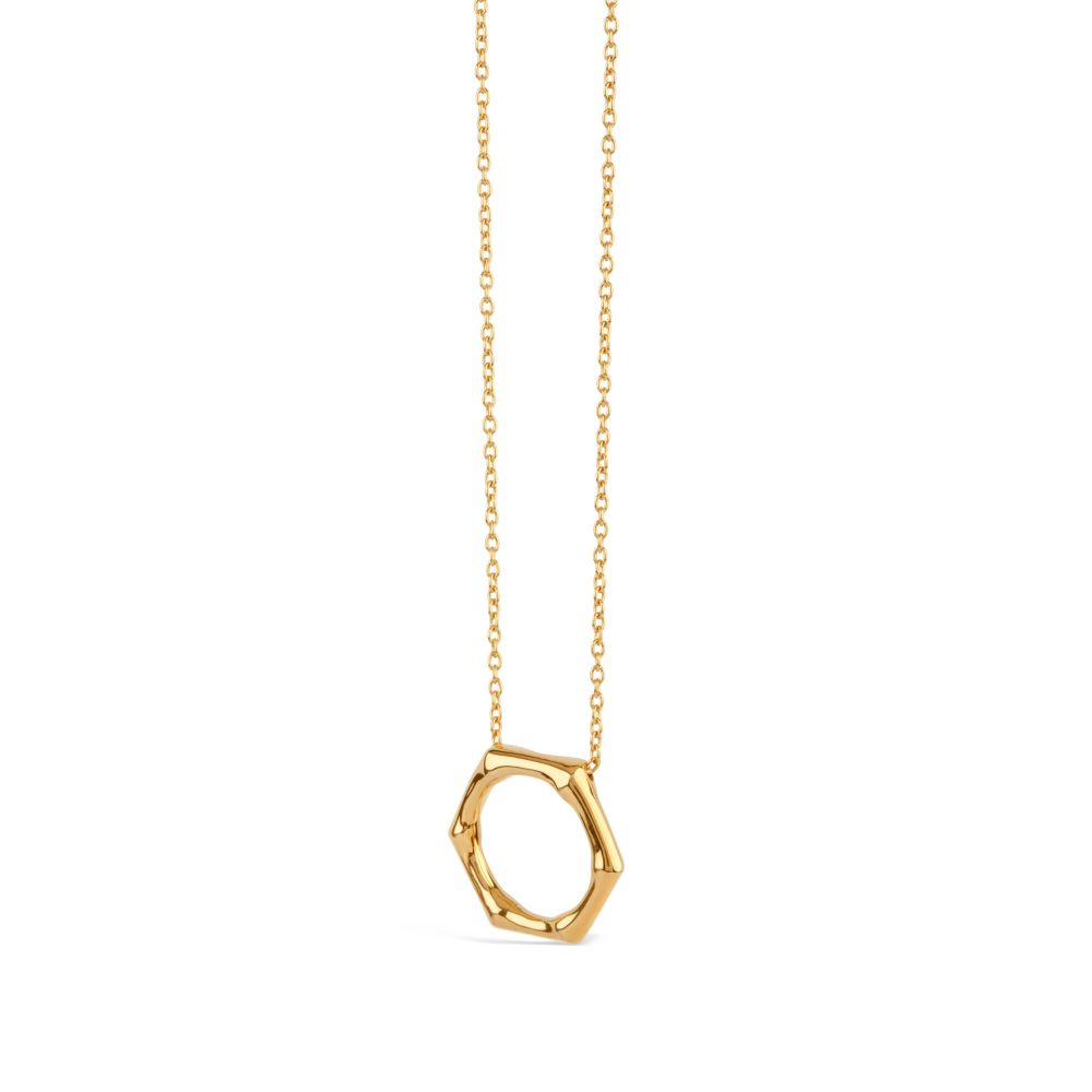 Dinny Hall Bamboo Round Slider Pendant in Gold Vermeil