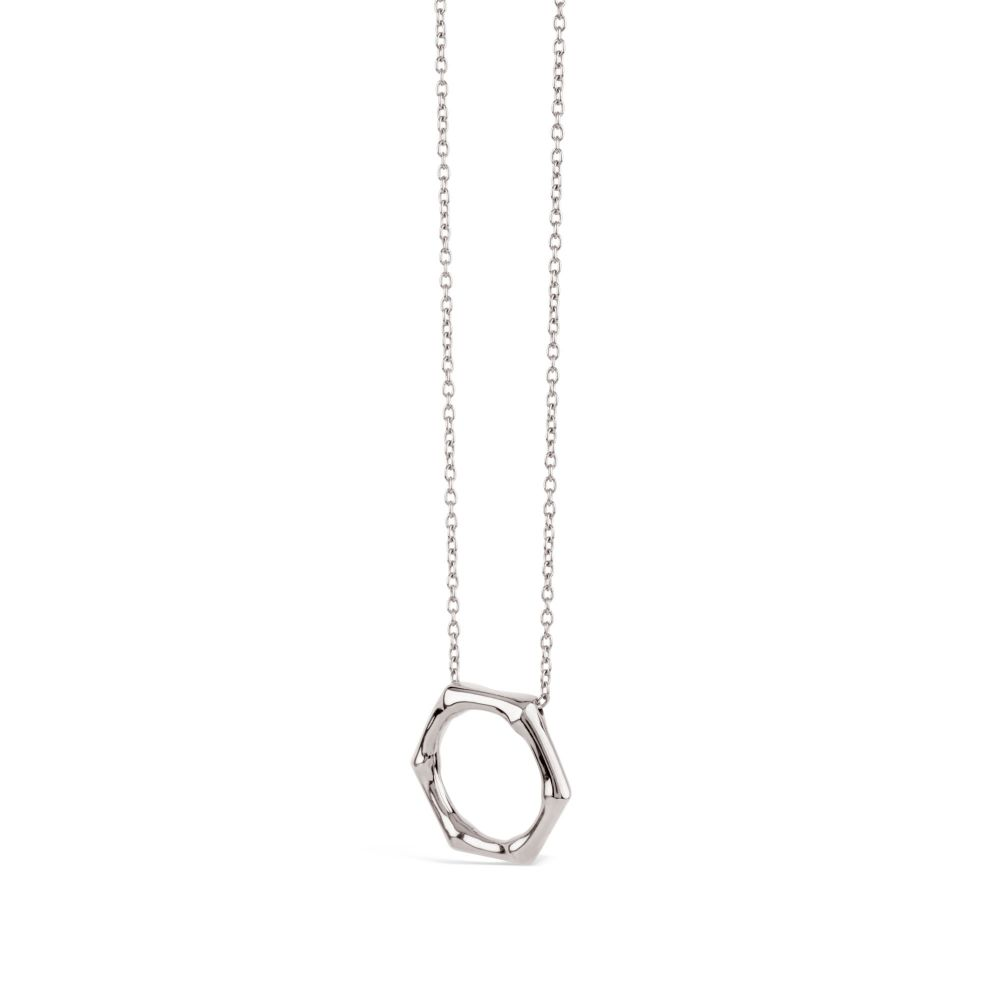 Bamboo Round Slider Pendant in Sterling Silver