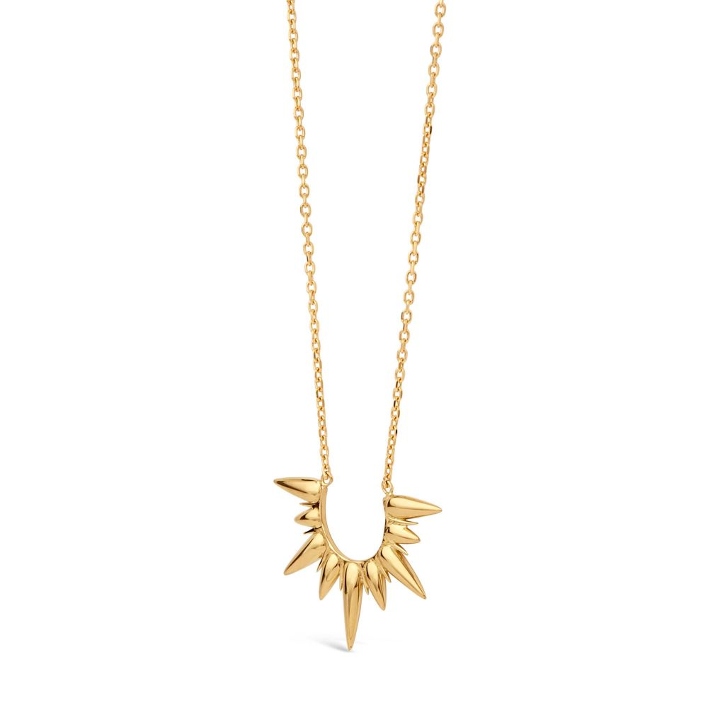sun beam shaped necklace in gold plate