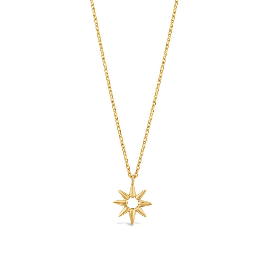 Gold necklace in shape of sun beam