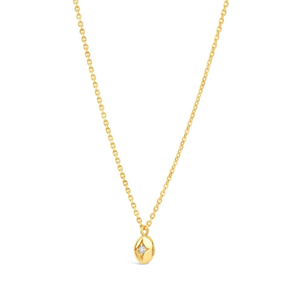 Gold Mini Diamond Disc Pendant