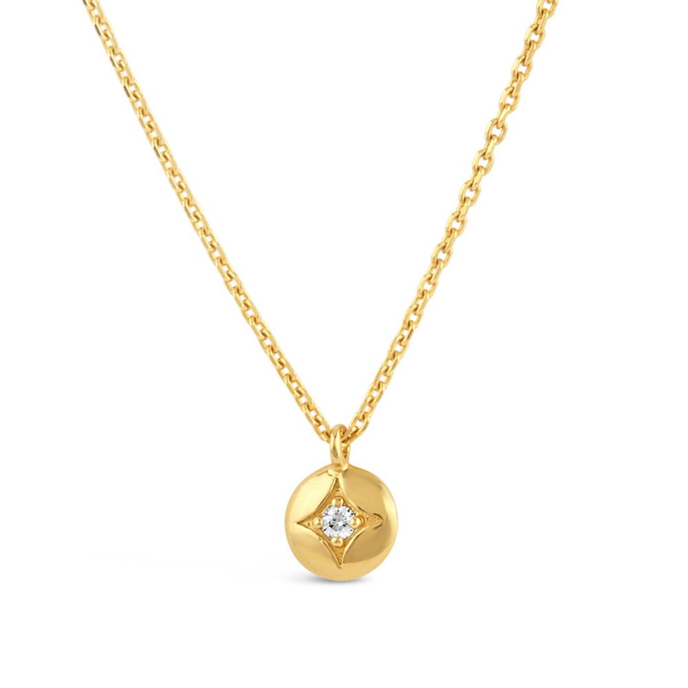 Dinny Hall Gold Mini Diamond Disc Pendant