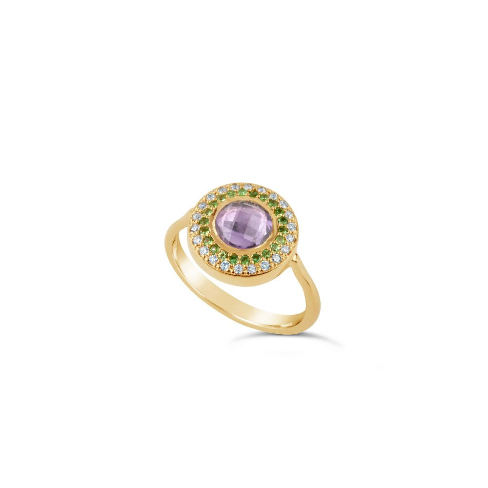 Dinny Hall Halo Pinky Ring, Set With Gemstones in Suffragette Colours