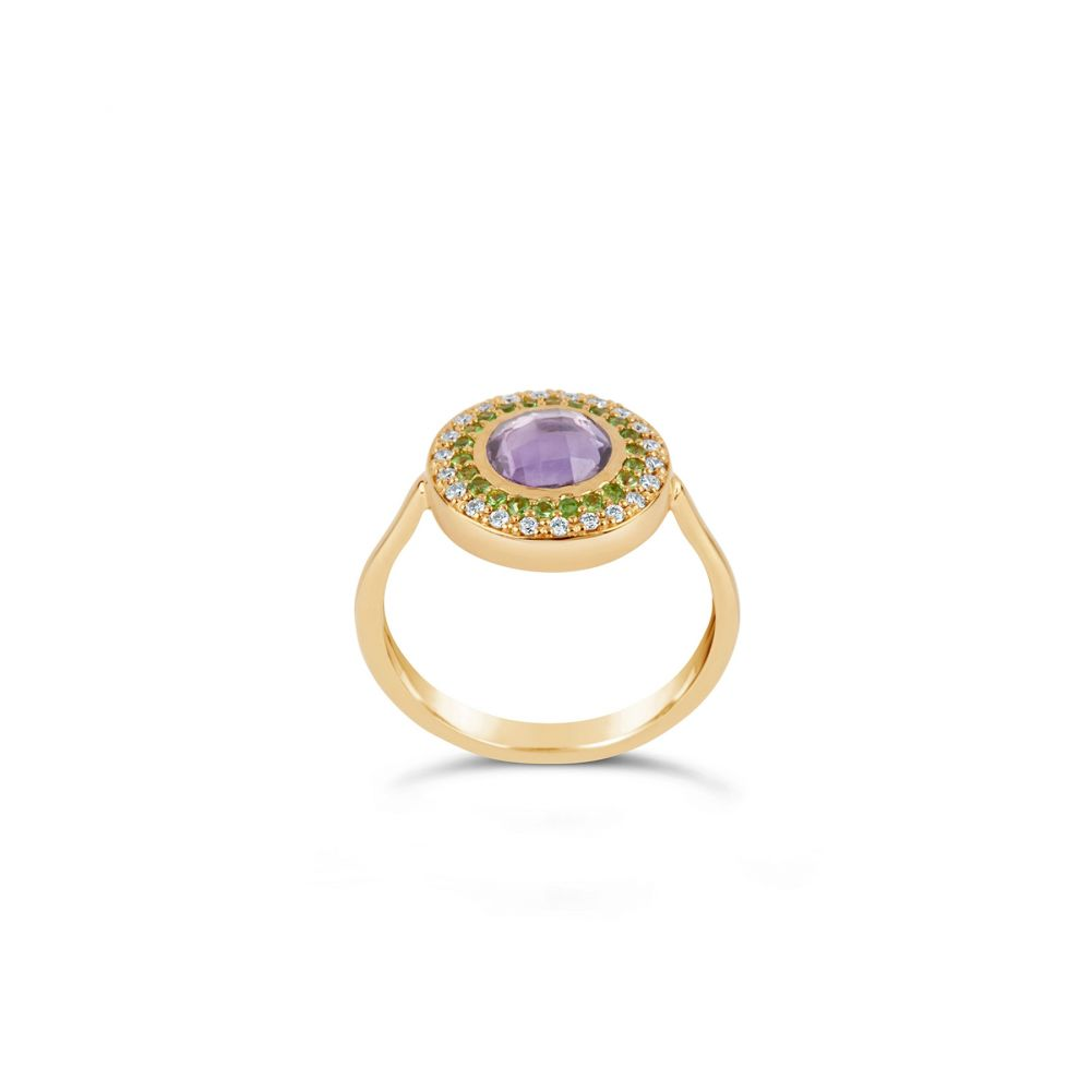 Dinny Hall Halo Pinky Ring, With Rose Cut Amethyst, brilliant cut 0.33ct diamonds and 0.25ct Tsavorite
