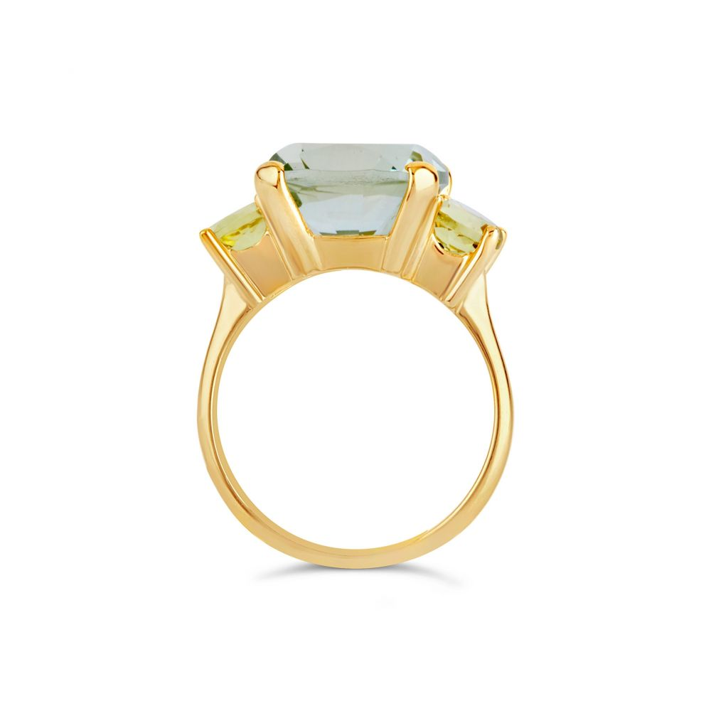 Green Amethyst and Oro Verde Cocktail Ring Dinny Hall