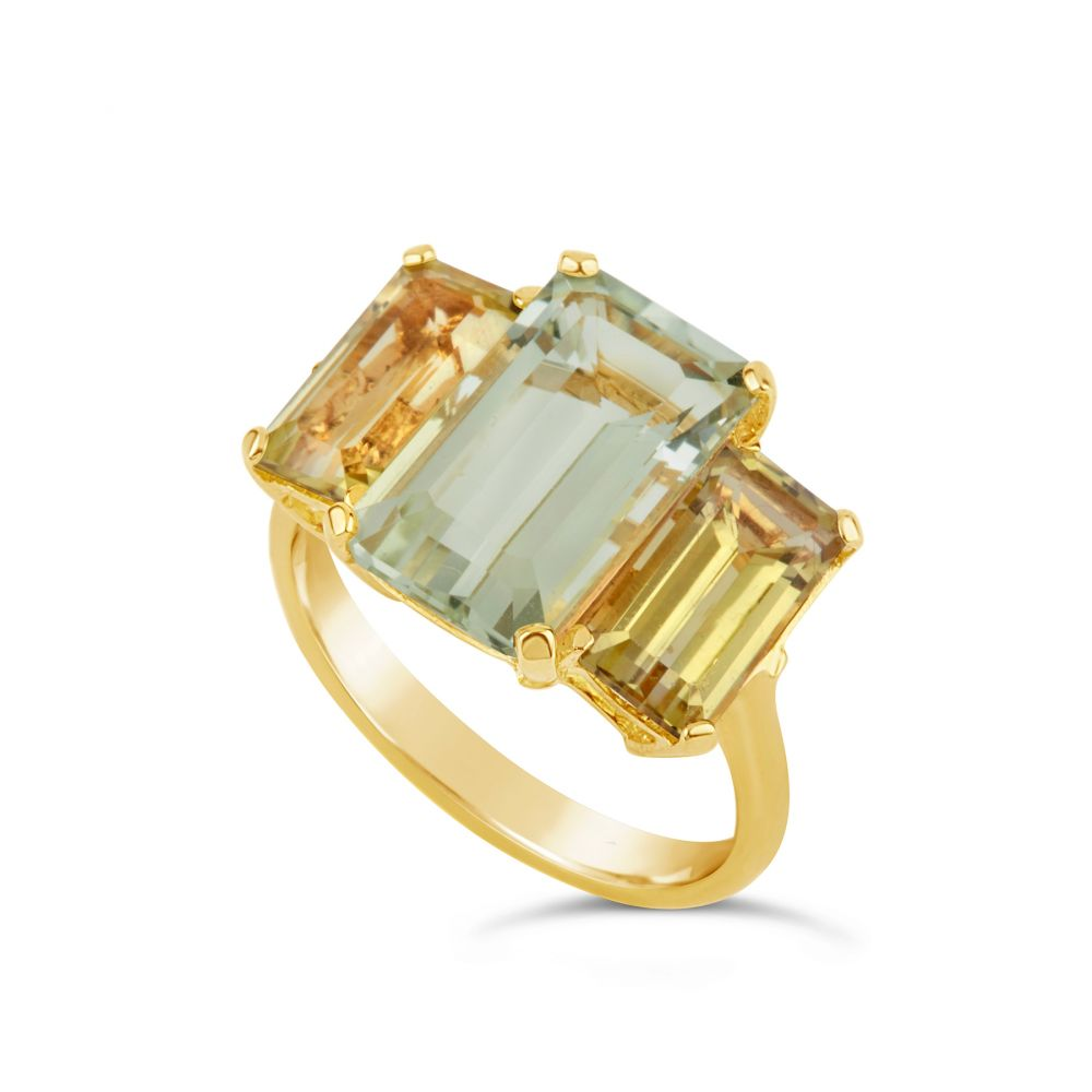 Gold Plated Cocktail Ring with Green Amethyst