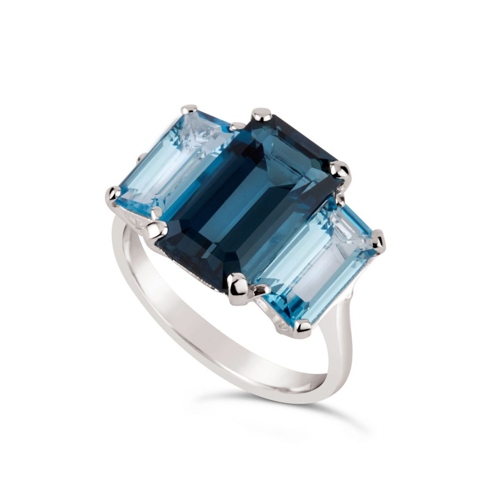 Large Blue Topaz Cocktail Ring