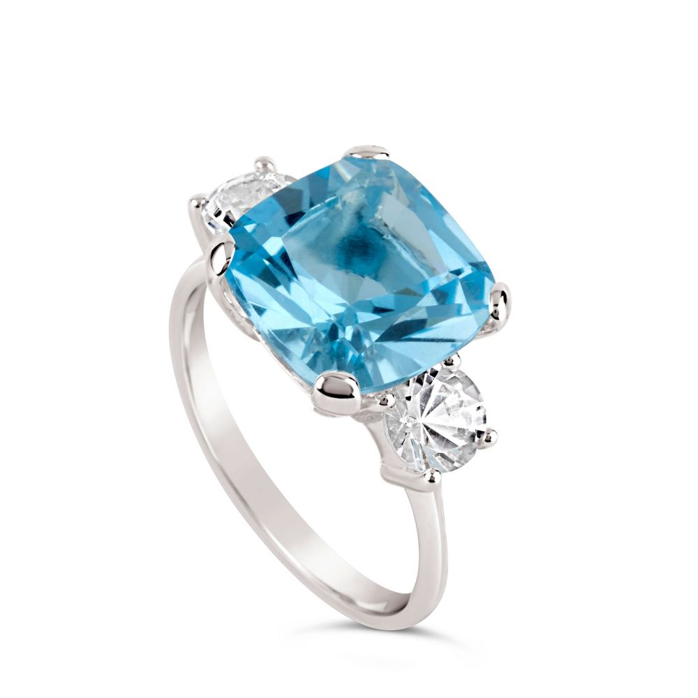 Teresa blue and white topaz cocktail ring
