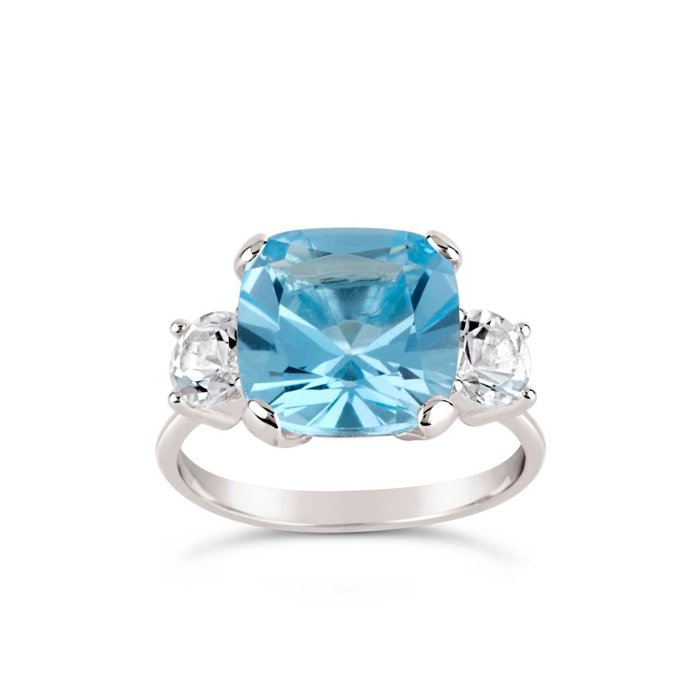 Teresa silver blue topaz and white topaz ring