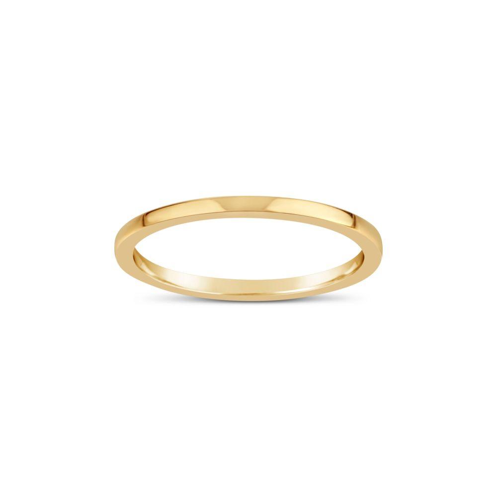 18K GOLD FINE SKINNY FLAT WEDDING BAND